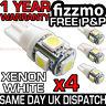 4x 5 SMD LED XENON WHITE SIDE LIGHT BULB 501 W5W T10 PUSH WEDGE FREE UK P&P