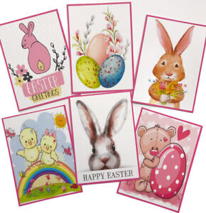 6 x Cute EASTER Card Toppers/Pictures - for Card Making/Tags - Silk Card