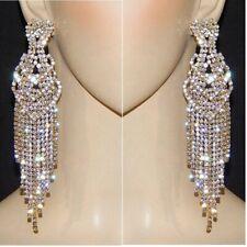 """Silver Heart Crystal Rhinestone Earrings 5.2"""" Gold Tone Chandelier Triple Tassel"""