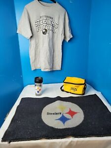 Pittsburgh Steelers Area Rug Shirt size medium Tumbler and Lunch Box Set