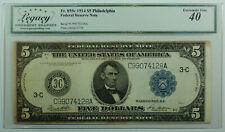 1914 $5 Five Dollar Philadelphia Federal Reserve Note FRN Fr. 855c Legacy XF-40