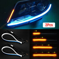 2x Car Soft Tube LED Strip Daytime Running Light Turn Signal Lamp Waterproof