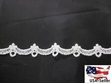 """Wholesale 75 Y Venise Venice white double scalloped lace edge narrow trim 5/8"""""""