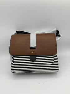 Women's Fossil Kinley Fabric Small Crossbody-Black Stripe (ZB7226080) MSRP: $118