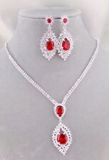 Crystal and Red Red Rhinestone Necklace Set Fashion Jewelry NEW