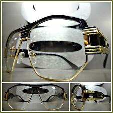 Men CLASSIC VINTAGE RETRO HIP HOP RAPPER Clear Lens EYE GLASSES Black Gold Frame