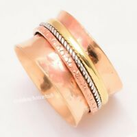 Solid Copper Band & 925 Sterling Silver Spinner Ring Wide Band Statement R -713