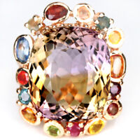20.10CT. NATURAL AAA BI-COLOR AMETRINE & SAPPHIRE STERLING 925 SILVER RING 7.25