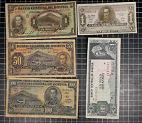 Bolivia Bank Note lot of 5 World Foreign World Currency Latin America 1920's