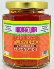 Fresh Root Turmeric and Black Pepper in Coconut Oil by India in a Jar x 4 #inj