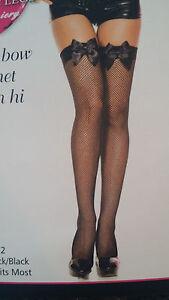 Music Legs Black Satin Bow Fishnet Nylon Thigh High Stockings Pantyhose 4912