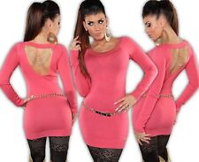 KOUCLA Mini Dress Pullover Knitted Studs Chains Cut Out Jumper Long L
