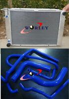 For Holden V8 Commodore VG VL VN VP VR VS 5.0L SS 304 Aluminum Radiator+Hose Blu