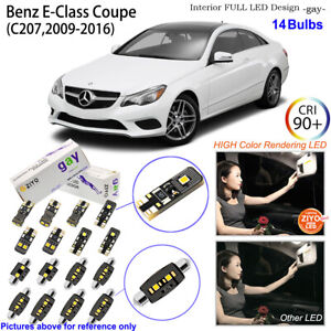 14pcs Deluxe LED Interior Light Kit White For C207 2009-2016 Benz E-Class Coupe