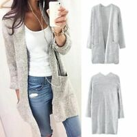 New Womens Knitwear Open Cardigan Coat Long Sleeve Loose Knitted Sweater Jumper