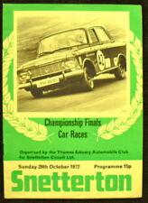 SNETTERTON CHAMPIONSHIP FINALS CAR PROGRAMME 29 OCT '72