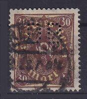 DR Mi Nr. 208 W PB Perfin, geprüft Infla, gest., Posthorn Deutsches Reich 1922