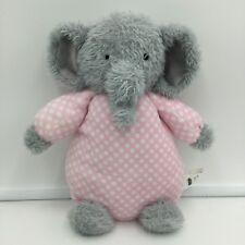 "MudPie Elephant Gray Pink White Polka Dots Plush Soft Toy Stuffed 10"""
