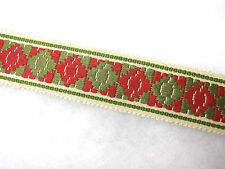Rojo Y Verde 4cm amplia frontera Recorte De Tela Material recorte Trenza cortina
