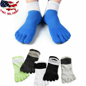USA 5 Pairs Mens Combed Cotton Five Finger Toe Socks Sports Casual Ankle Low Cut