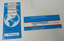 Vintage Aeroflot Ticket / Sleeve Holder 1991 & Boarding Pass  #3346