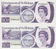More details for two p5a saint helena 1979 fifty pence banknotes in mint condition