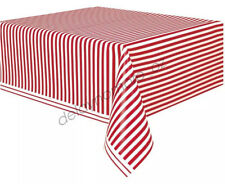Circus Birthday Party Plastic Table Cover Red  White Striped Carnival Tablecloth