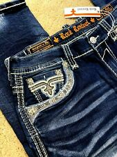 Rock Revival Saif Alt Straight Stretch Denim Jeans Mens Size 42 X 34 -NEW