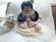 Indian Girl Porcelain Doll with a rug and her little bear,beautiful