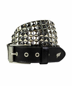 Lowlife Vegan Triple S Studded Faux Leather Belt in Black and Silver