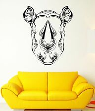 Wall Vinyl Sticker Decal Rhino Horn Head Patterns Flowers Leaves Animal (ed415)
