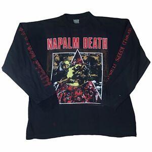 Napalm Death Vintage T Shirt Long Sleeve XL Black Metal Rare 1992