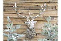 Resin Stag Head Silver Art, Wall Mounted Stylish Figure Sculpture
