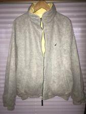 Nautica Vintage Reversible  Gray & Yellow Duck Down Puffer Jacket Hidden Hood