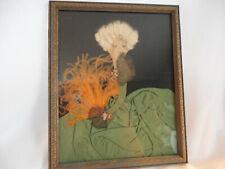 "Vintage folk art lady w/ feather fan mix media pitcher 9"" x 11"""