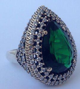 Turkish Handmade Hurrem Sultan 925 Sterling Silver Rings Size 7.50 (Resizable)