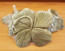 Brass Floor Wall Plate Hibiscus Figurine Vintage Flower Home Art Decor Living
