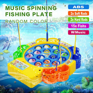 Game Magnetic Rotating Fishing Plate Kids Electric Music Educational Toys Set US
