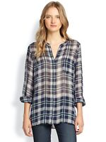 Joie Nepal Plaid Silk Green Blue Long Sleeve Printed Split Neck Blouse Top M