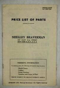 1954 PRICE LIST PARTS REVOLVERS PISTOLS SHELLEY BRAVERMAN EXPLODED PARTS DIAGRAM