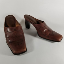 """Franco Sarto Women's Brown Leather Floral Mules 