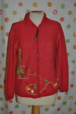 VTG Medium Unisex UGLY INVESTMENTS CHRISTMAS TREE with bulbs beads Red SWEATER