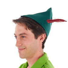 Peter Pan Elf Green Costume Hat with Red Feather