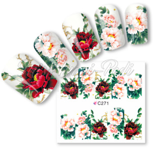 Roses Full Nail Water Decals, Stickers Wraps Flowers Rose Peony Nail Decals C271