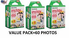 Fujifilm Instax Mini Instant Film Total 60 Shoots 2x10 Shoots 3 Twin Packs
