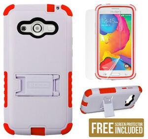 WHITE RED TRI-SHIELD CASE STAND SCREEN PROTECTOR FOR SAMSUNG GALAXY AVANT G386T