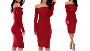 Lyss Loo Bold Move Off The Shoulder Long Sleeve Midi Dress D2045 Burgundy S