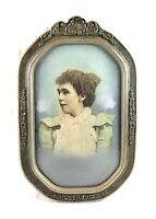 Antique Art Nouveau Ornate Picture Frame Convex Bubble Glass Fits 15 7/8 x 9 3/4