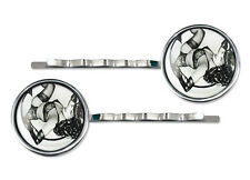 Betty Page Fetish Pin-up Girl Silver Glass Hair Clip Rockabilly Barrette Set