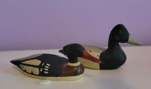 "2 Big Sky Carvers Ducks Hand Carved Hand Painted Wood Miniature Duck Decoy 4"""